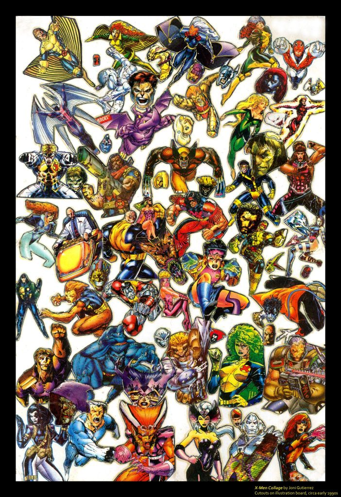 X-Men Collage - Artwork Made from Cutouts of X-Men Jim Lee Trading Cards Series 1 by Impel 1992